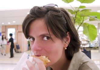 Girl eating snack