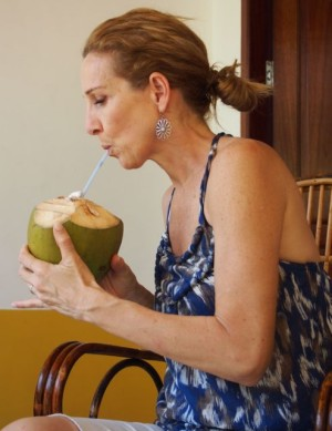 Drinking coconut milk