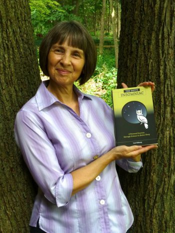 Lois Maharg with book, The Savvy Insomniac
